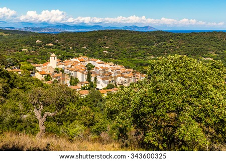 Beautiful View On The Whole City Of Ramatuelle and Surrounding Forest-France,Europe