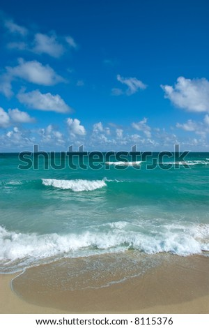 Beautiful view onto Atlantic ocean from South Beach, Miami - stock photo