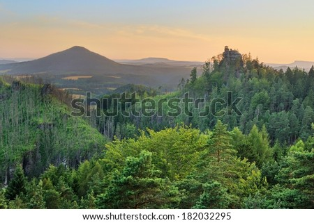 Beautiful view onto hut on the rocks in the National park Bohemian Switzerland - stock photo