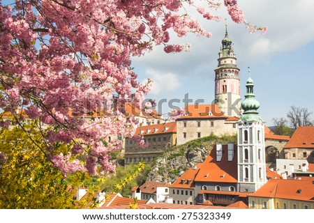 Beautiful view to church and castle in Cesky Krumlov, Czech republic with flower - stock photo