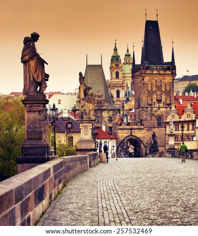 Beautiful view to Mala Strana and Charles bridge at sunset, Prague, Czech republic - stock photo
