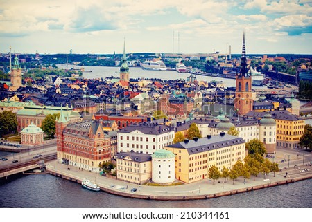 Beautiful view to Stockholm Gamla Stan, Sweden - stock photo