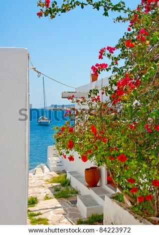Beautiful view to the sea in Skiathos island Greece - stock photo