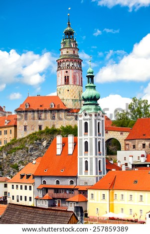 Beautiful view to tower and castle in Cesky Krumlov, Czech republic - stock photo