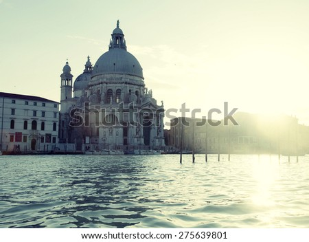Beautiful view with Basilica Santa Maria Della Salute and Grand Canal, Venice, Italy. Sunset light - stock photo