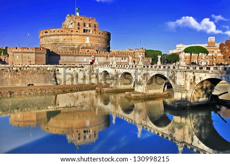 beautiful view with castle st. Angelo. Rome - stock photo
