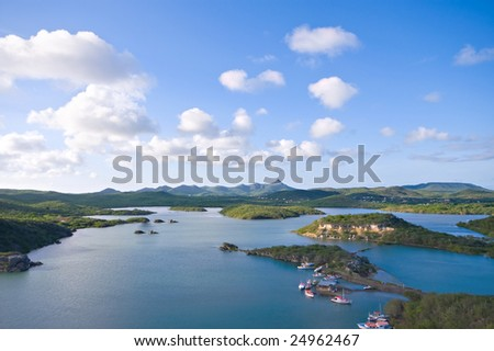 beautiful viewpoint at santa martha bay curacao - stock photo