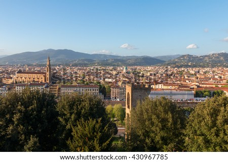 Beautiful views of Florence city at sunset in Italy, Europe