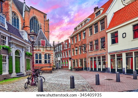 "Beautiful views of the streets, ancient buildings of Amsterdam - also call ""Venice in the North"". Netherland - stock photo"