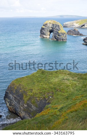 beautiful views of the virgin rocks with wild tall grass on the wild atlantic way - stock photo
