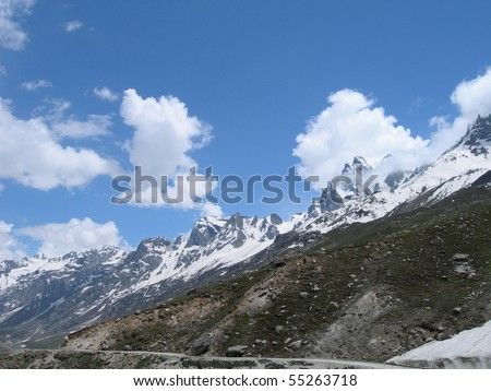 Beautiful views while trekking to Spiti valley in the Himalayan mountains, Northern India - stock photo
