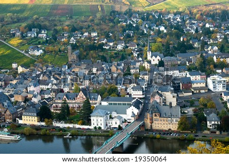 beautiful village and vineyards along the mosel river in germany( Traben-Trarbach) - stock photo