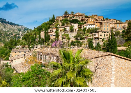 beautiful village Deia on the hill, Mallorca, Spain - stock photo