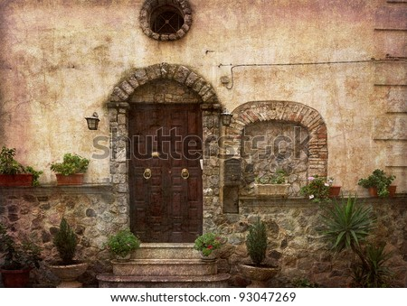 Beautiful village entrance - postcard from Italy. More of my images worked together to reflect age and time. - stock photo