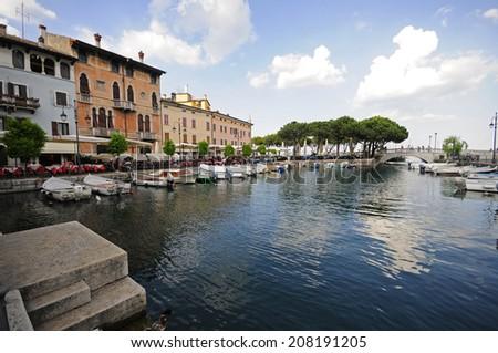 Beautiful village in Garda lake: Desenzano del Garda  - stock photo