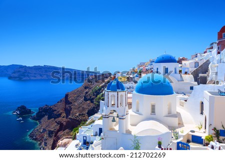 Beautiful Village of Oia in Santorini, Greece - stock photo