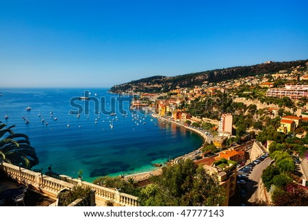beautiful village of villefranche sur mer on the french riviera france  cote d'azur - stock photo