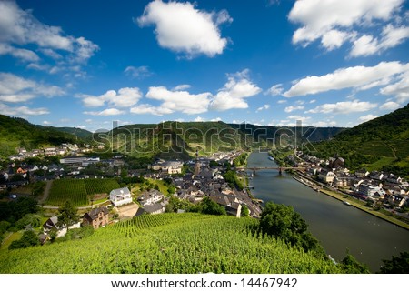 beautiful village with vineyards and forest along the mosel river in cochem germany - stock photo