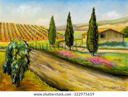 Beautiful vineyards landscape in Tuscany, central Italy. Original illustration. - stock photo
