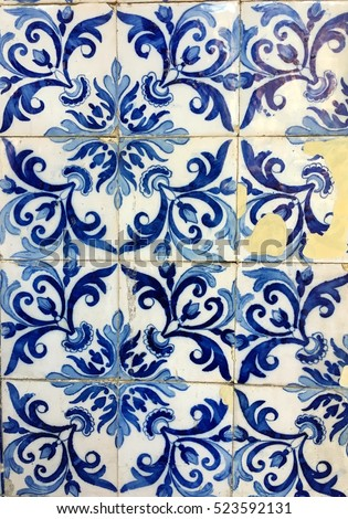 Beautiful vintage blue mosaic  for Mediterranean backgrounds