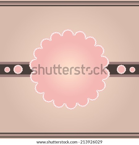 Beautiful vintage brown pink white lace frame - stock photo