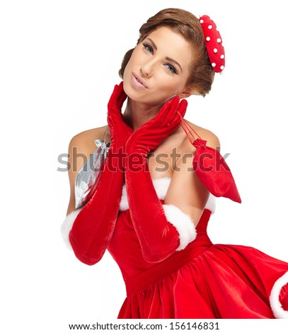 Beautiful vintage christmas woman isolated on white