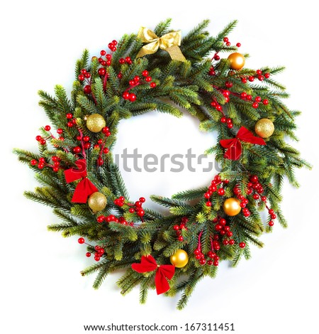 Beautiful vintage Christmas wreath decorated with red ribbons and golden balls isolated on white - stock photo