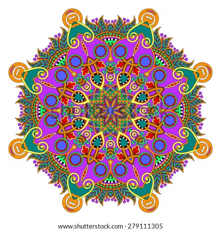 beautiful vintage circular pattern of arabesques, floral round  raster version - stock photo
