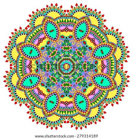 beautiful vintage circular pattern of arabesques, floral round,  raster version illustration - stock photo