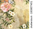 Beautiful Vintage composition with flowers. Hand painting. Illustration for greeting cards, invitations, and other printing projects. - stock photo