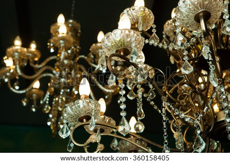 Beautiful vintage crystal chandelier in a room
