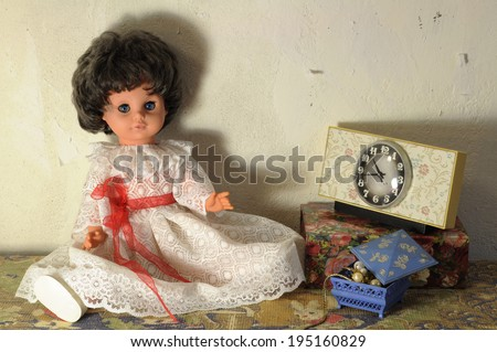 Beautiful vintage doll, old clock and accessories
