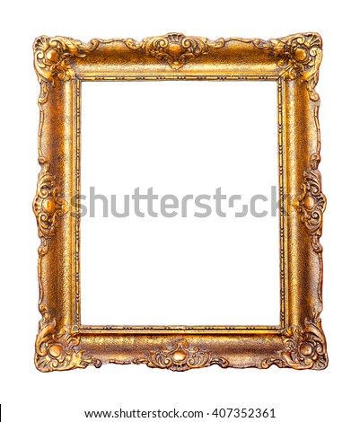 Beautiful vintage golden frame for paintings decorated with carvings and ornaments. - stock photo