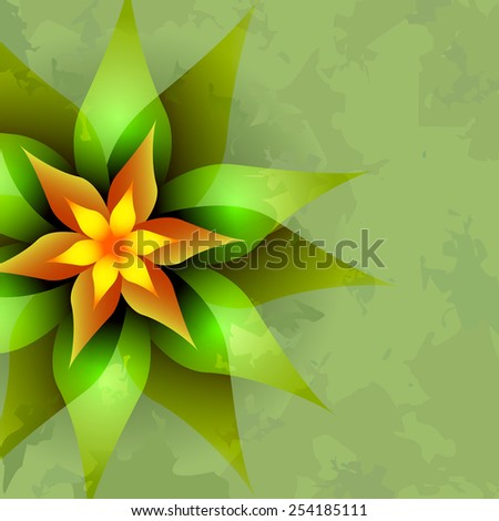 Beautiful vintage green background with abstract glowing flower. Greeting or invitation card. - stock photo