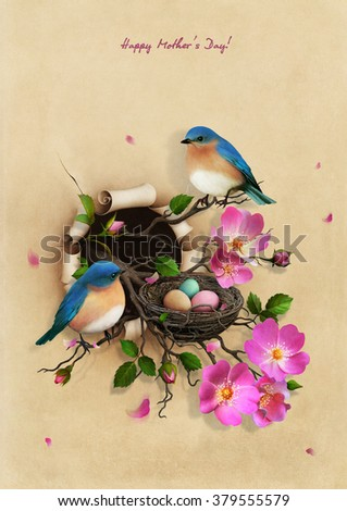 Beautiful Vintage Greeting Mothers Day card with Nest with two blue  - stock photo