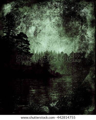 Beautiful vintage grunge landscape, Trees and Lake, Summer Wallpaper