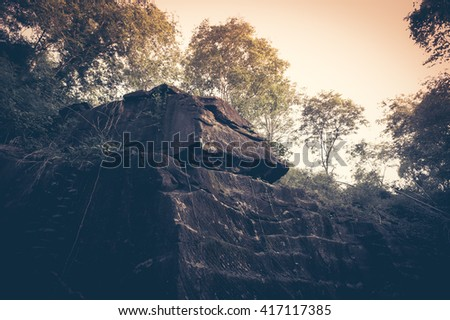 Beautiful vintage landscape with rock-hill