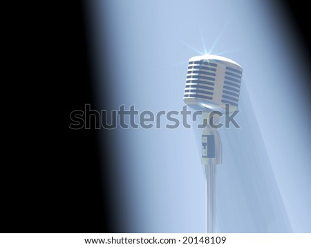 Beautiful vintage microphone in a spotlight waiting for a singer - stock photo