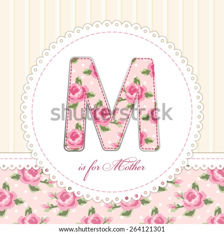 Beautiful vintage Mother's Day card in shabby chic style with patch applique of letter M - stock photo