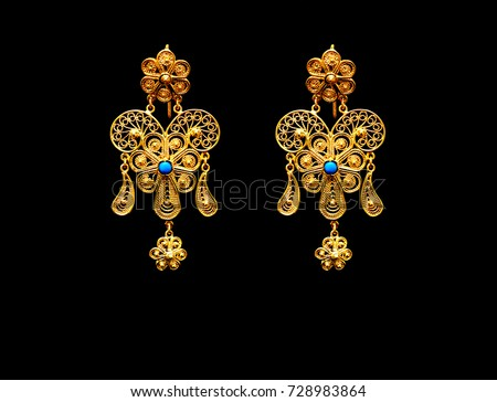 Beautiful Vintage Oriental Gold Turkish Jewelry Stock Photo Royalty