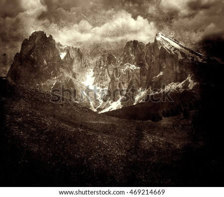 Beautiful vintage photo of mountains