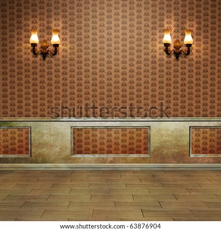 beautiful vintage room with vintage wall lamps. background for your work - stock photo