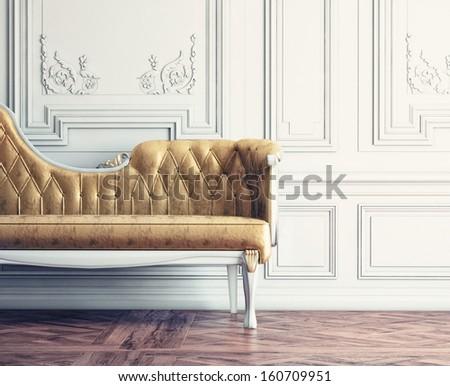 Beautiful vintage sofa next to wall  (retro-style illustration) - stock photo
