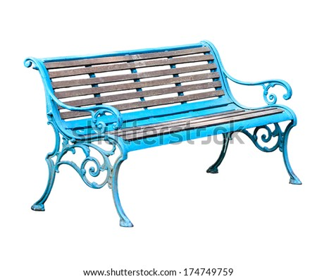 Beautiful vintage wooden bench in blue color. isolate on white background. - stock photo