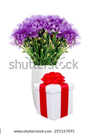 Beautiful violet flowers in vase and gift box isolated on white background - stock photo