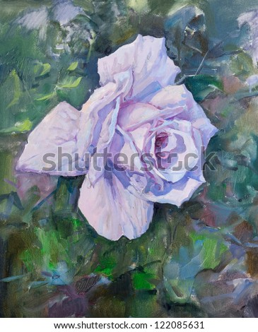 Beautiful violet rose, painting - stock photo