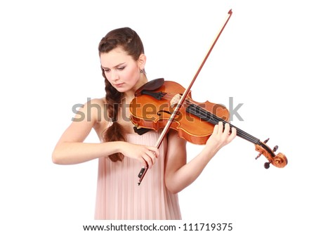 beautiful violinist playing and looking down isolated on white - stock photo