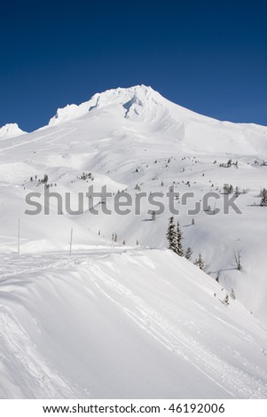 Beautiful Vista of Mount Hood in the Pacific Northwest with Clear, Blue Skies. - stock photo