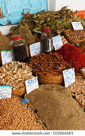Beautiful vivid oriental market with various spices - stock photo