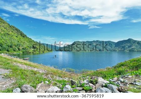 beautiful viwe lake and mountain - stock photo